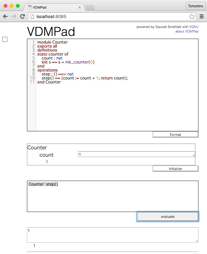 Evaluating the counter example on VDMPad